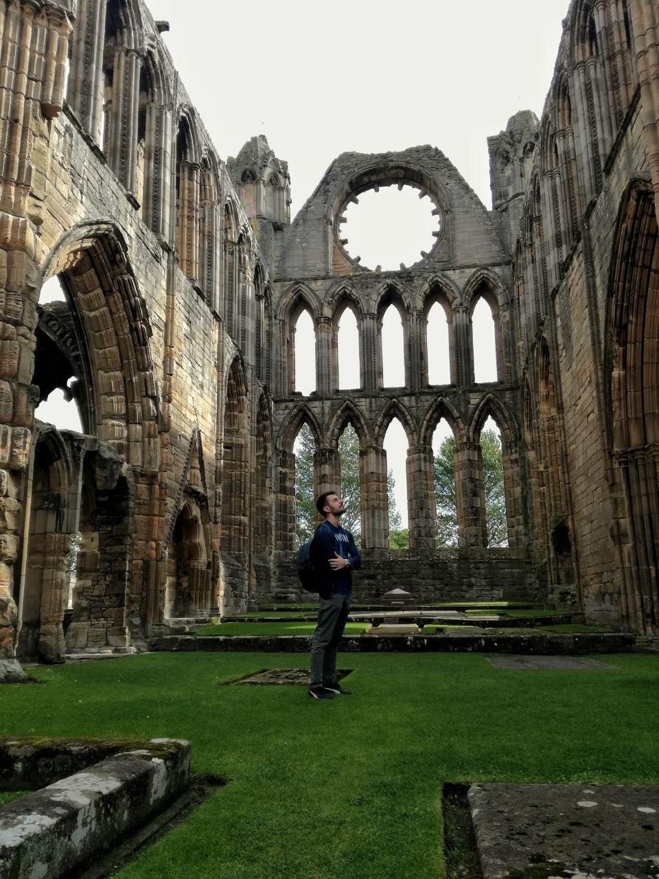 Traveler in the Elgin Cathedral Scotland