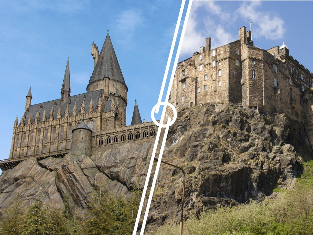 Immagine che mostra la comparazione tra il Castello di Hogwarts e il Castello di Edimburgo.