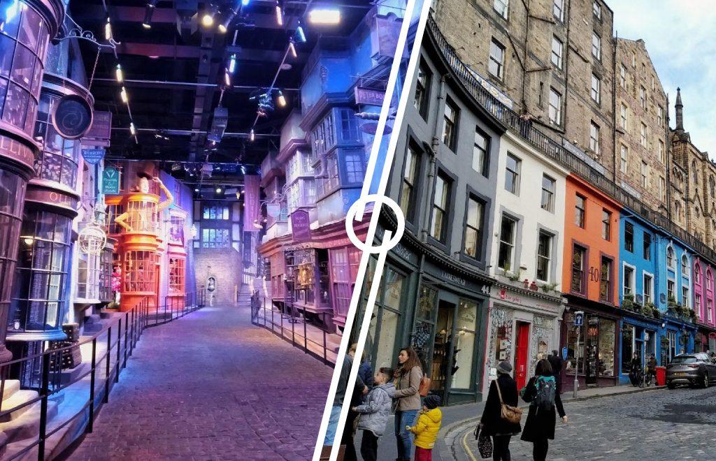 Immagine che mostra la comparazione tra Diagon Alley agli Harry Potter Studios e Victoria Street a Edimburgo.