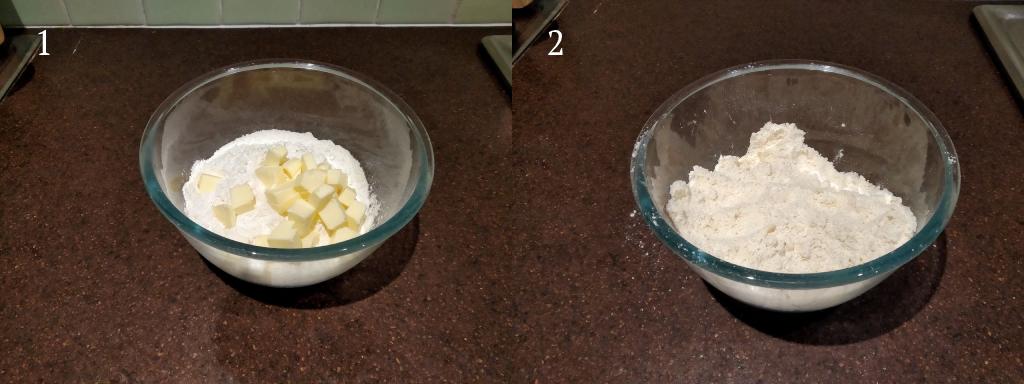 Procedimento preparazione scones: mischiare burro e farina ottenendo una sabbia fine