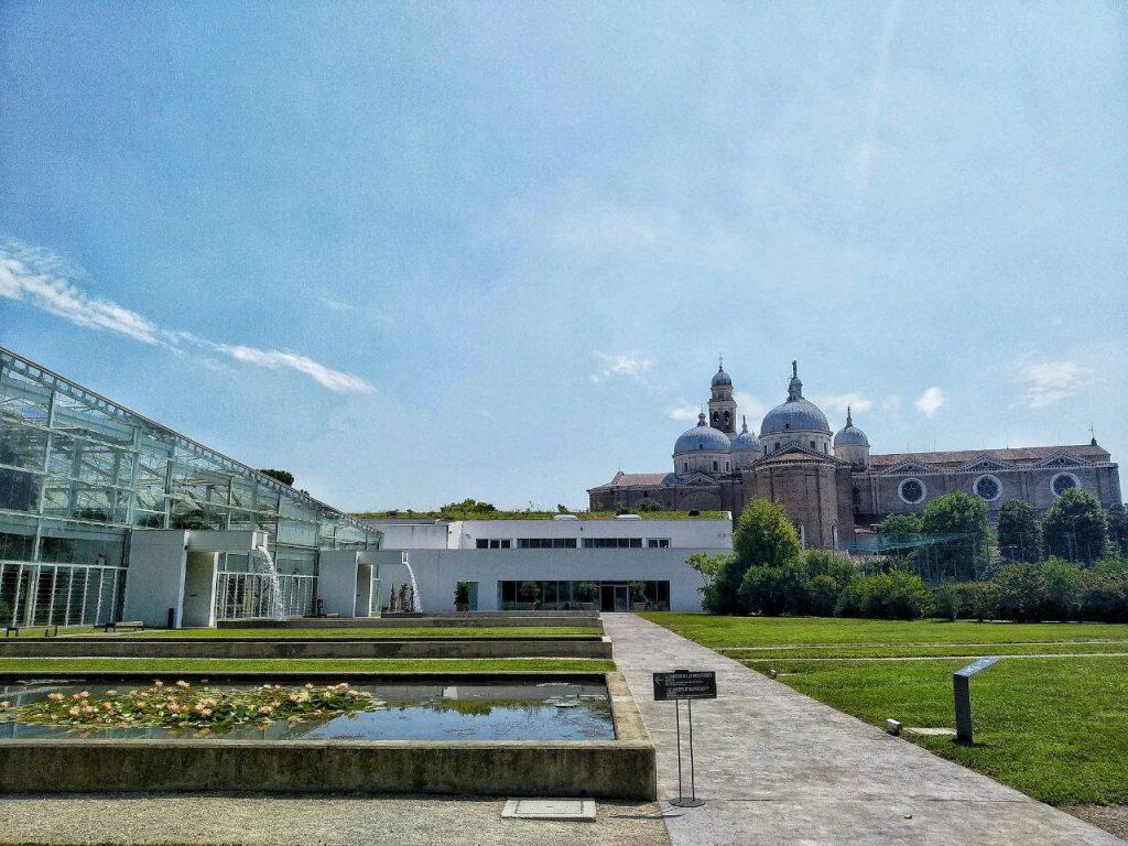 La chiesa di Santa Giustina e delle serre viste dai prati dellOrto Botanico di Padova.