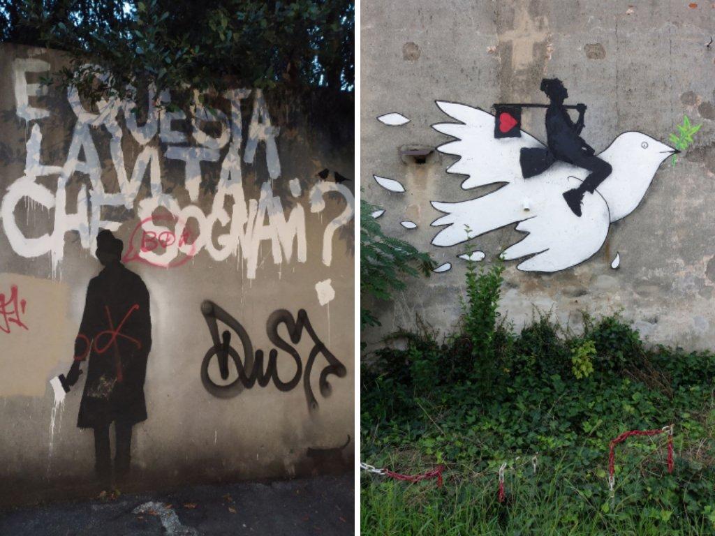 """Due opere di street art dell'artista Kenny Random: un uomo su una colomba della pace e un graffito con la scritta """"E' questa la vita che sognavi?"""""""