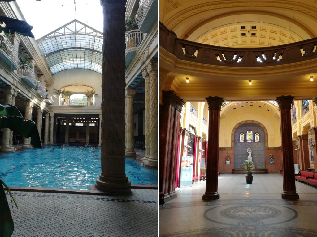 Gli interni dei bagni termali Gellert a Budapest