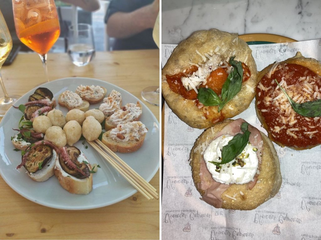 Un collage di foto con aperitivo di pesce sulla sinistra e pizze fritte sulla destra.