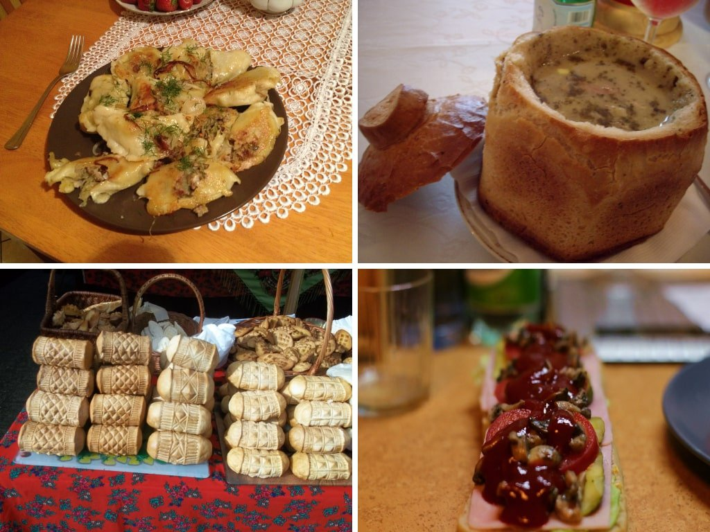 Un collage di foto con alcuni piatti tipici della cucina polacca: pierogi, Zurek, Oscypek e Zapiekanka.