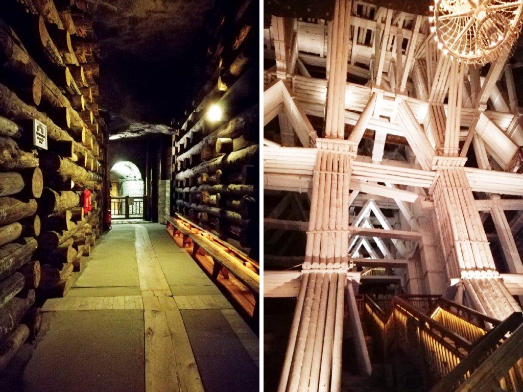 Gallerie e scalinate interne alla miniera di Wieliczka.