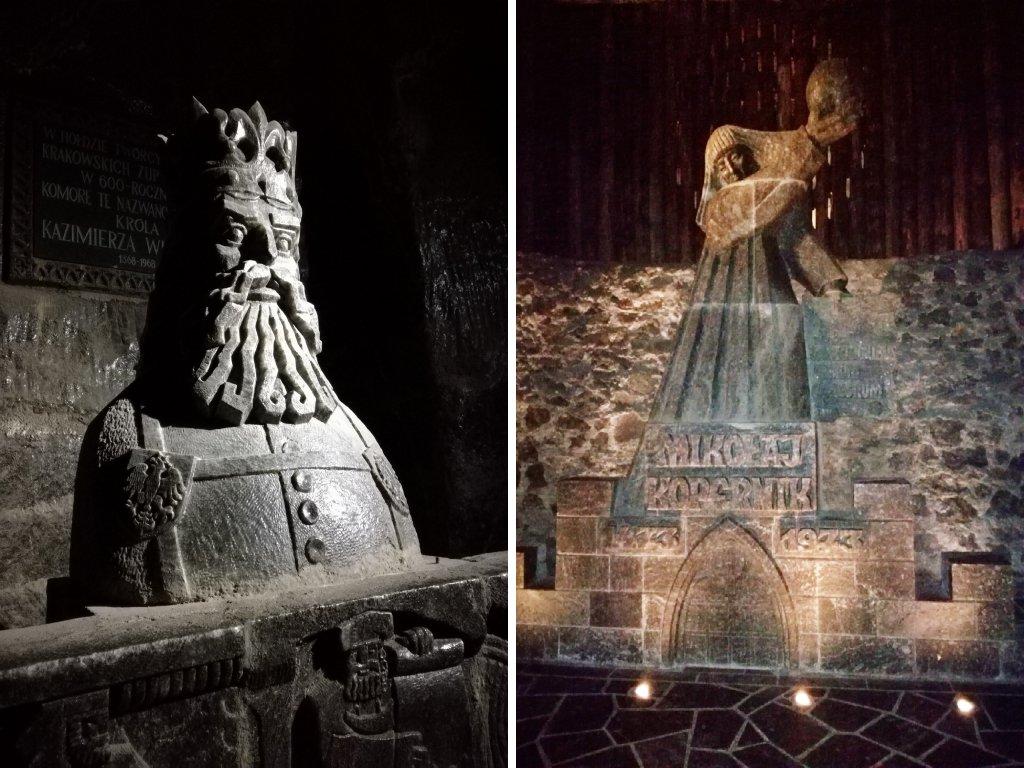 Due delle molte sculture di sale incontrate dentro la miniera di sale di Wieliczka.