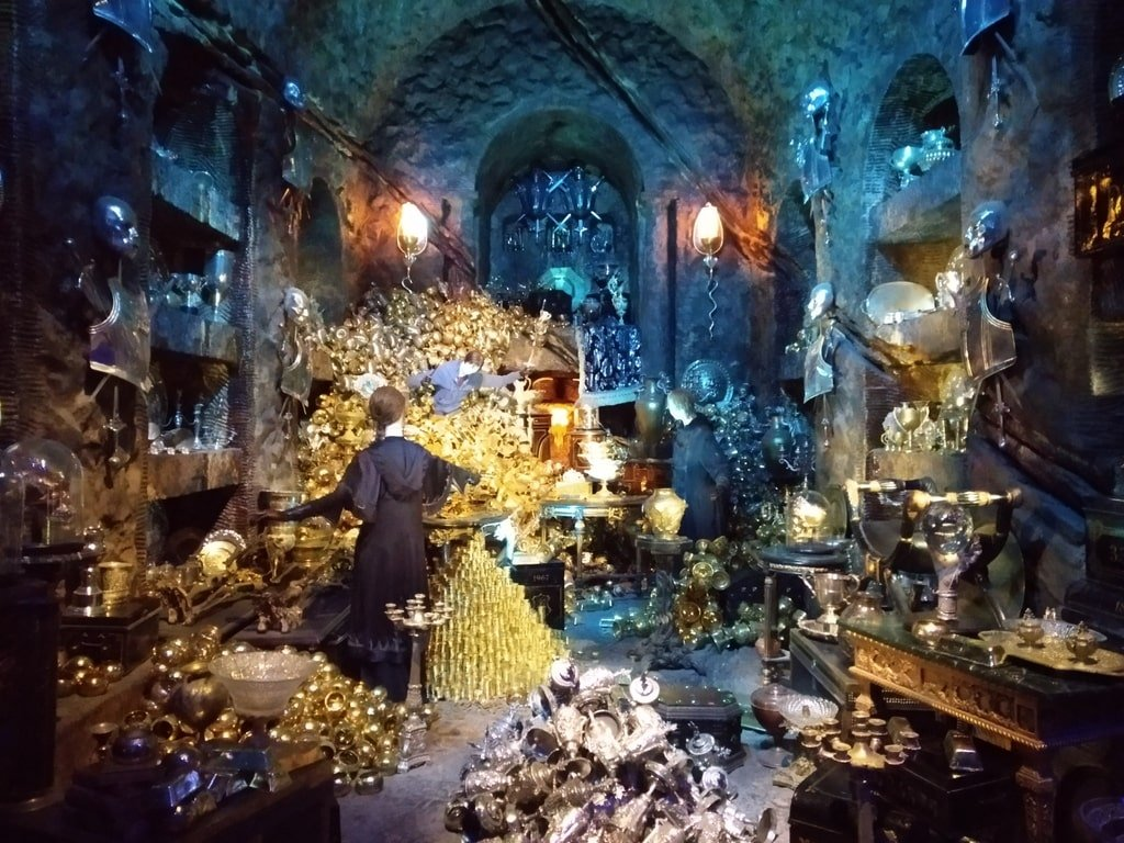 Una delle camere blindate alla Gringott ripiena di gioielli ai Warner Bros Studio Tour - The Making of Harry Potter a Londra