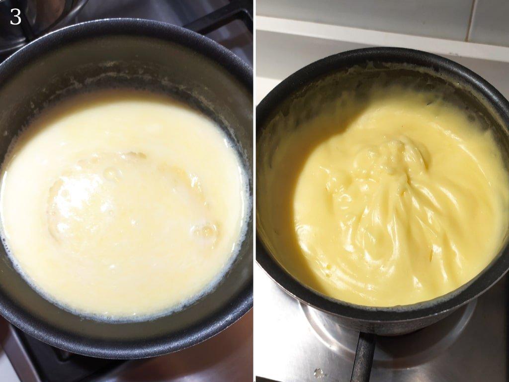 Crema pasticcera cotta in una pentola.