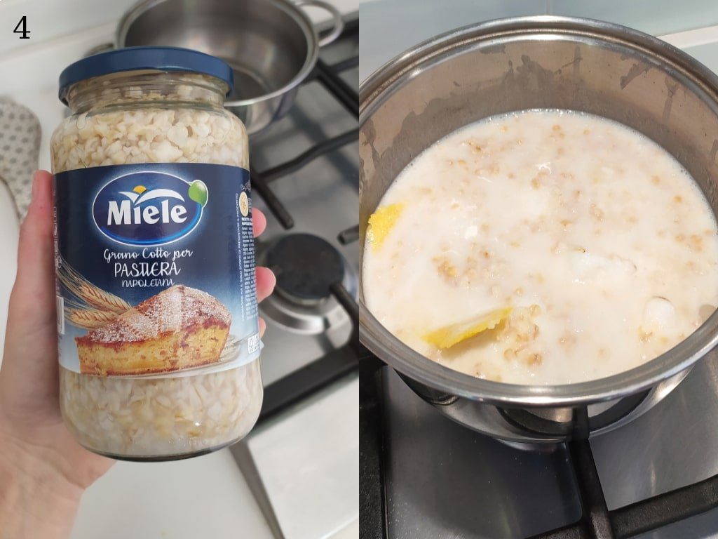 Una foto che accosta un vasetto di grano precotto e lo stesso, in una pentola in infusione con scorza di limone e latte.