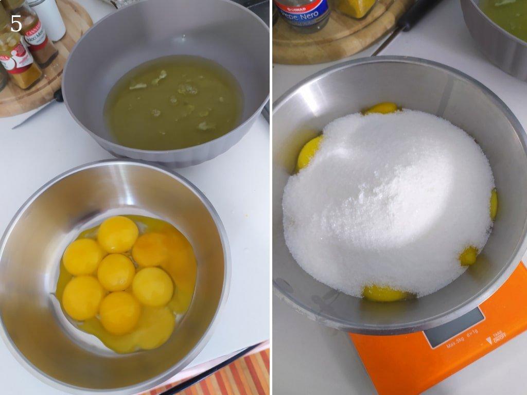 Bianche e rossi d'uovo separati in due cuotole differenti.