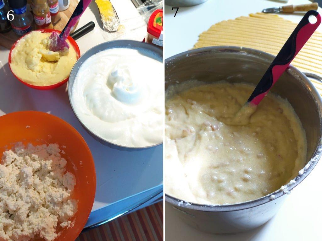 Ciotole contenenti ingredienti per la preparazione della pastiera: crema pasticcera, bianco d'uovo montato a neve e ricotta di pecora.