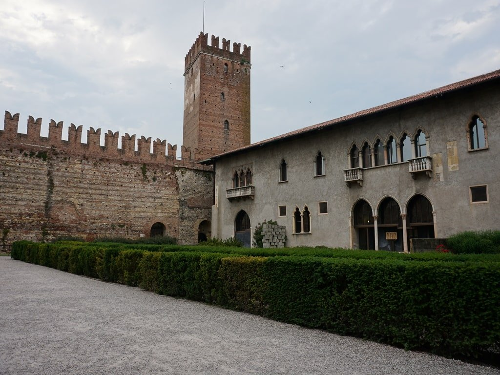 red castle of Verona with tower and museum in venetian style