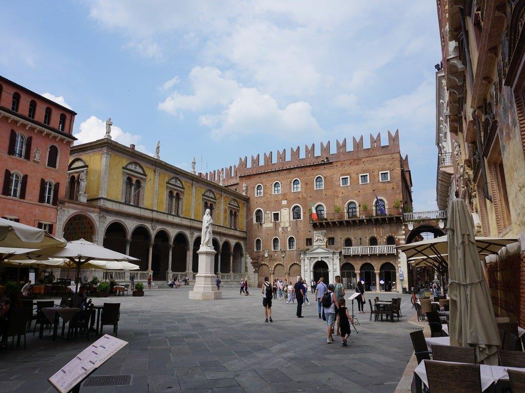 square of verona with poet dante's sculpture
