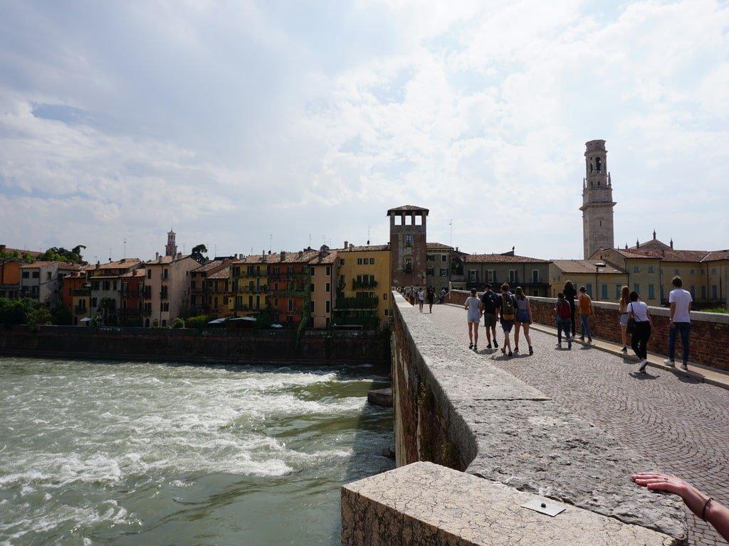 a stone bridge over the river in the city centre