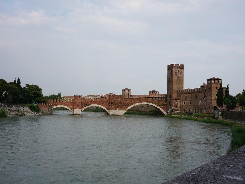 bridge in verona over the river Adige medieval red bridge