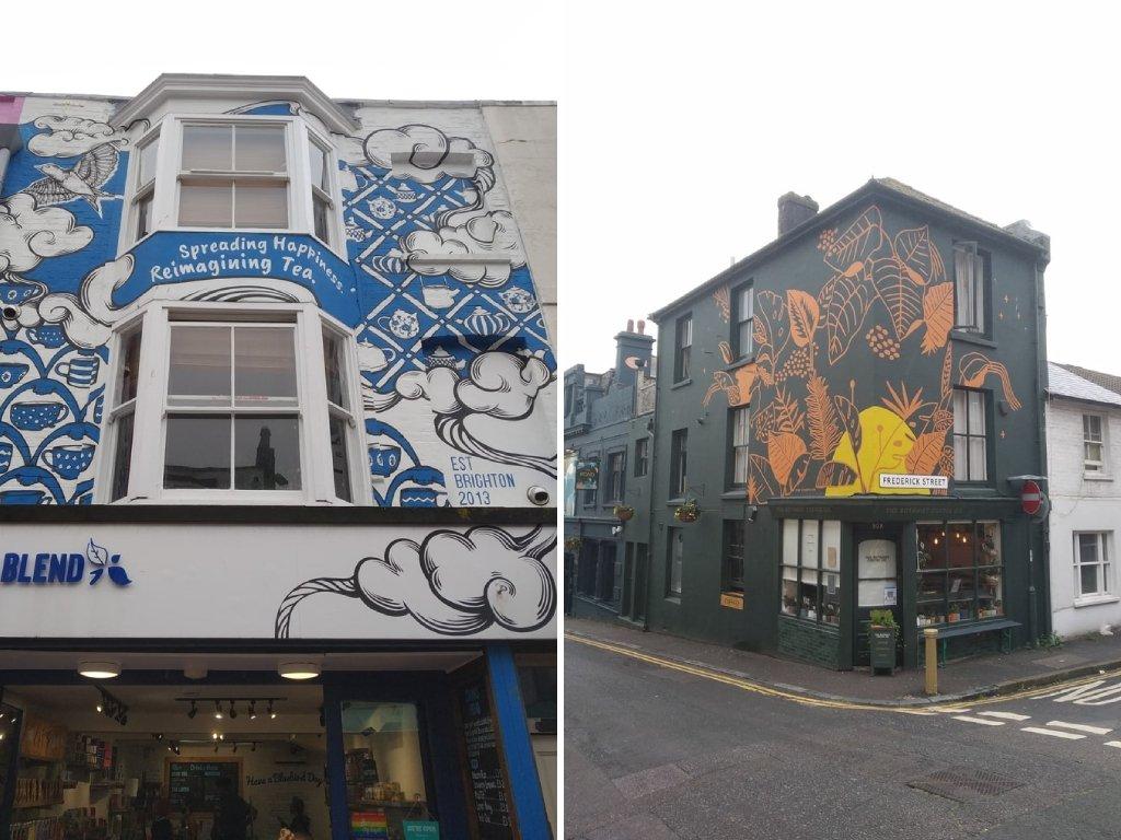 Alcun dei pub e dei colorati locali sulle North Laine di Brighton