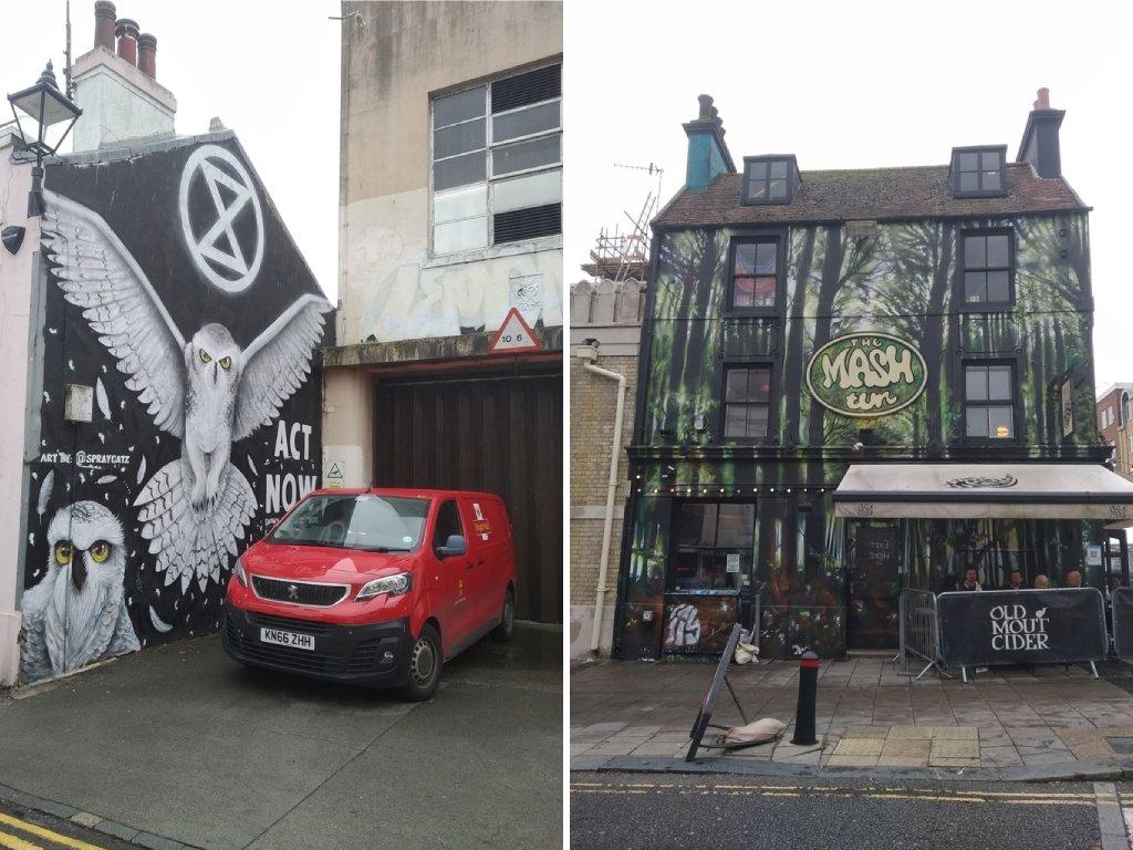 Un palazzo con street art e il nero pub The Mash sulle North Laine di Brighton