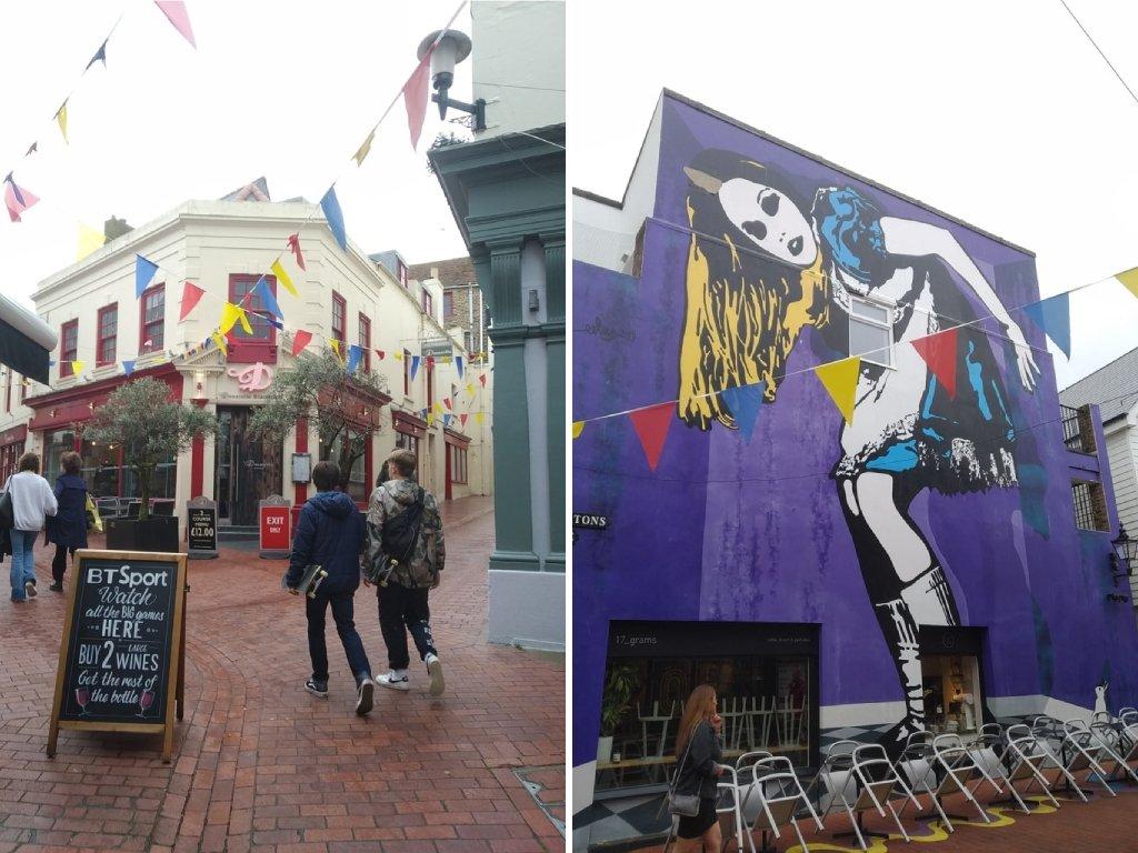 The Lanes e un palazzo con street art a Brighton