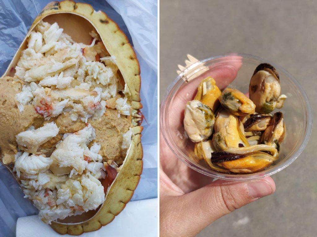 Un collage con due foto di piatti di pesce: alla sinistra un granchio bollito, a destra un bicchierino con all'interno delle cozze