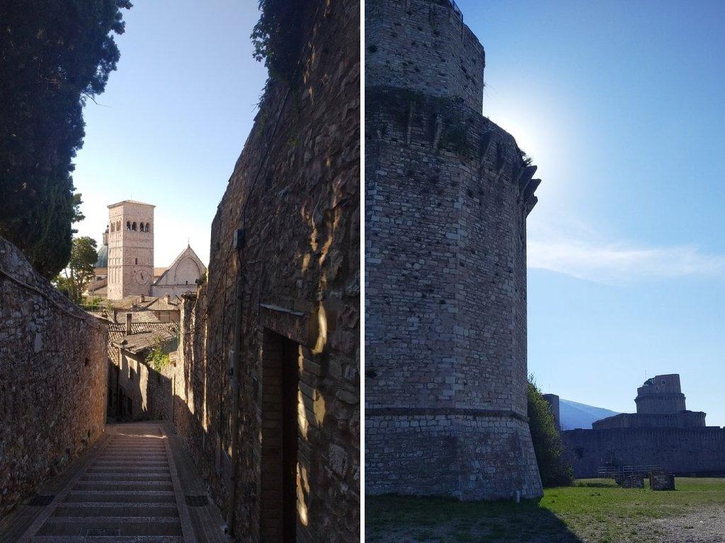 Un collage di due foto: alla sinistra uno scorcio sul borgo di assisi dalla strada che porta alla Rocca Maggiore e, alla destra, la Rocca Maggiore.