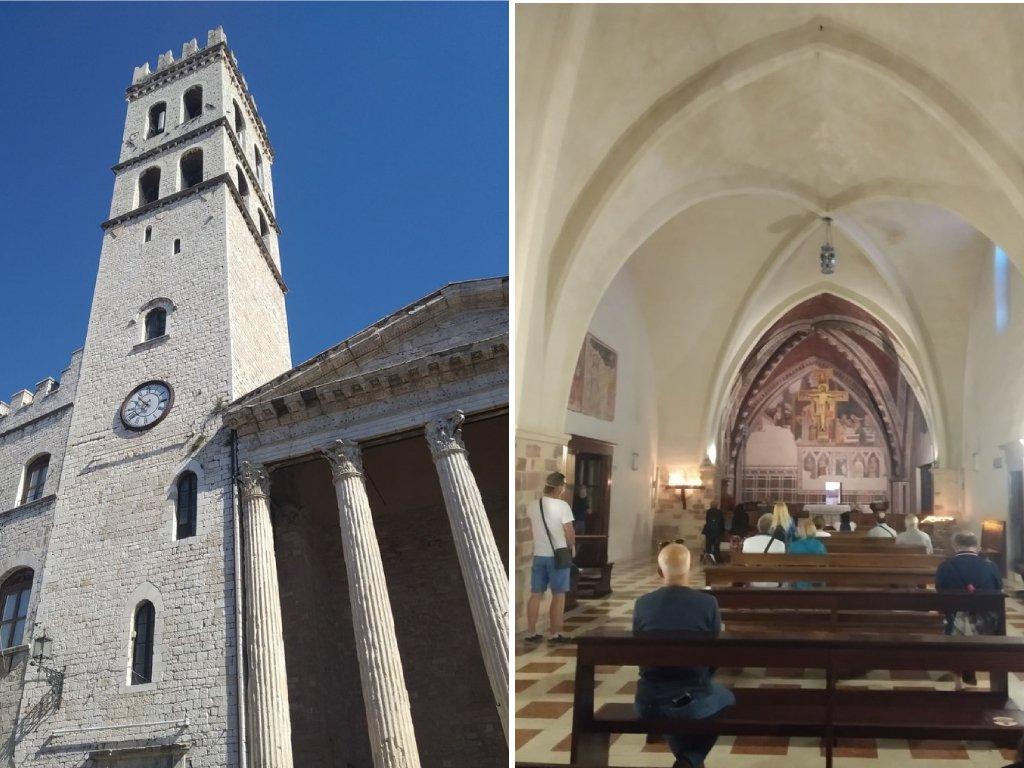 Un collage di due foto: alla sinistra la Torre del Popolo di Assisi, alla destra la piccola cappella della Chiesa di Minerva.