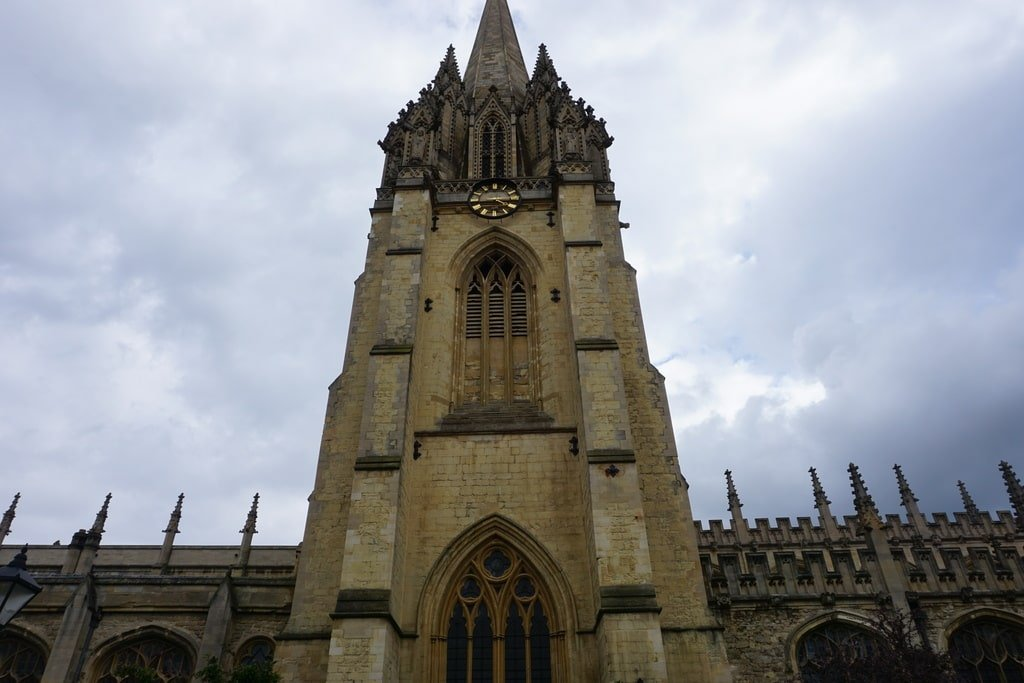 La torre dell'University Church of St Mary.