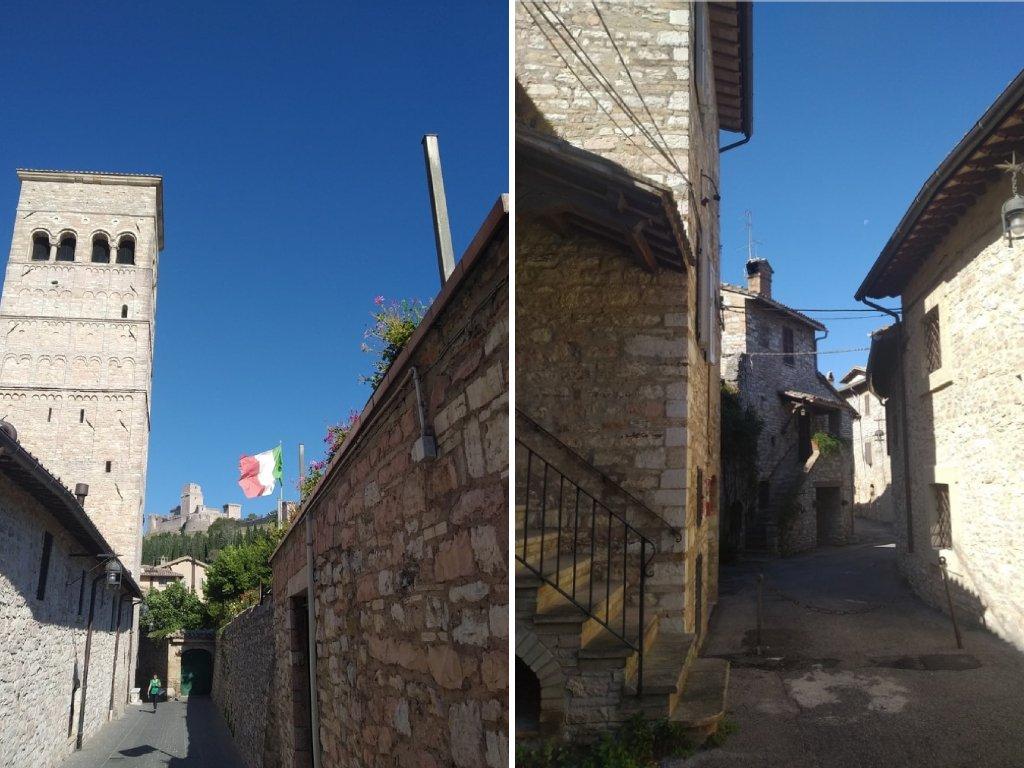 Un collage di due foto su alcuni scorci dell'Anfiteatro Romano di Assisi.
